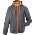 Męska bluza polarowa James&Nicholson Doubleface Jacket - Carbon / Orange