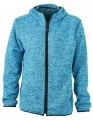 Męska bluza polarowa James Nicholson Knitted Fleece Hoody - Blue Melange/Black