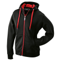 Męska bluza polarowa James&Nicholson Doubleface Jacket - Black / Red