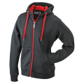 Damska bluza polarowa James&Nicholson Doubleface Jacket - Black / Red