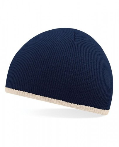 Czapka zimowa Beechfield Two-Tone Pull-On Beanie - French Navy/Stone